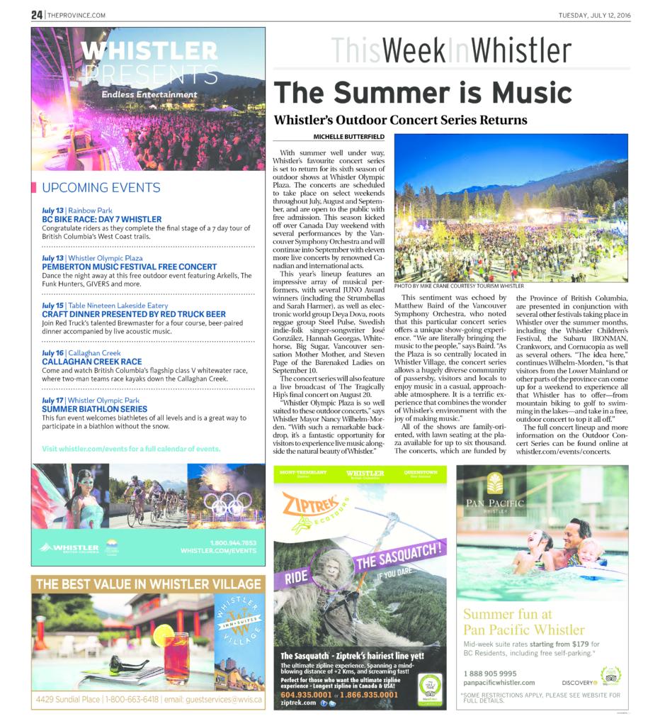 JM Media Whistler Summer 2016 Advertising